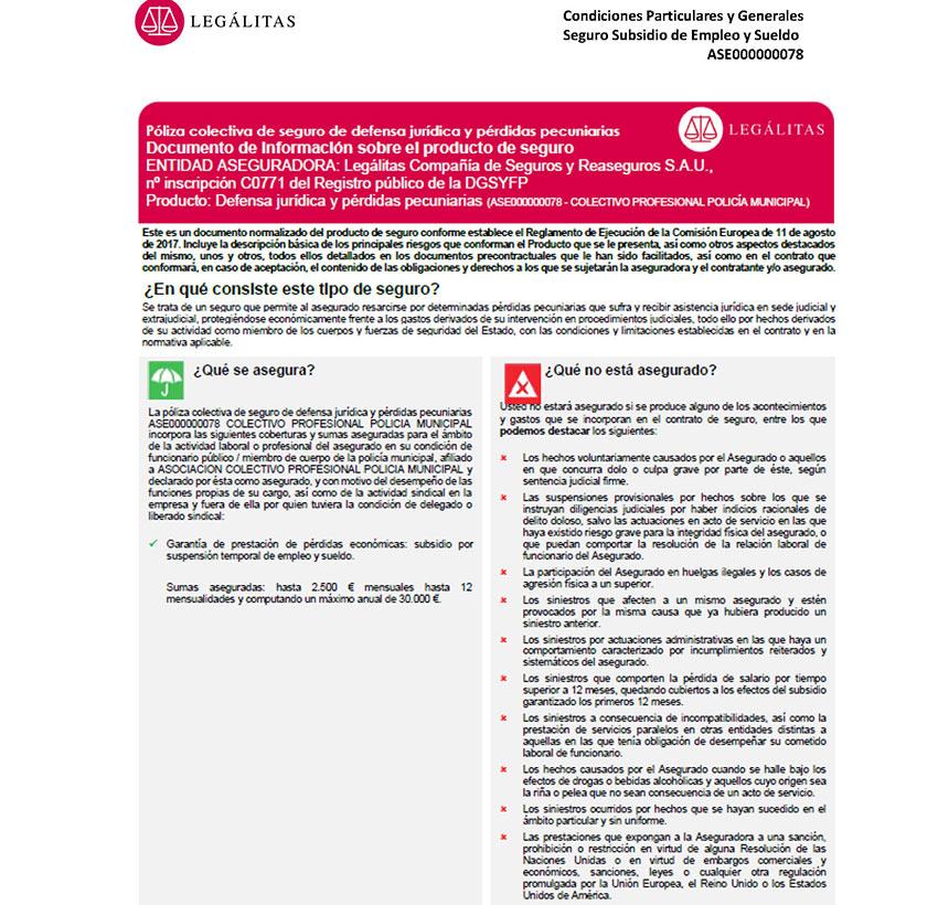 Condiciones póliza seguro sanciones Legalitas