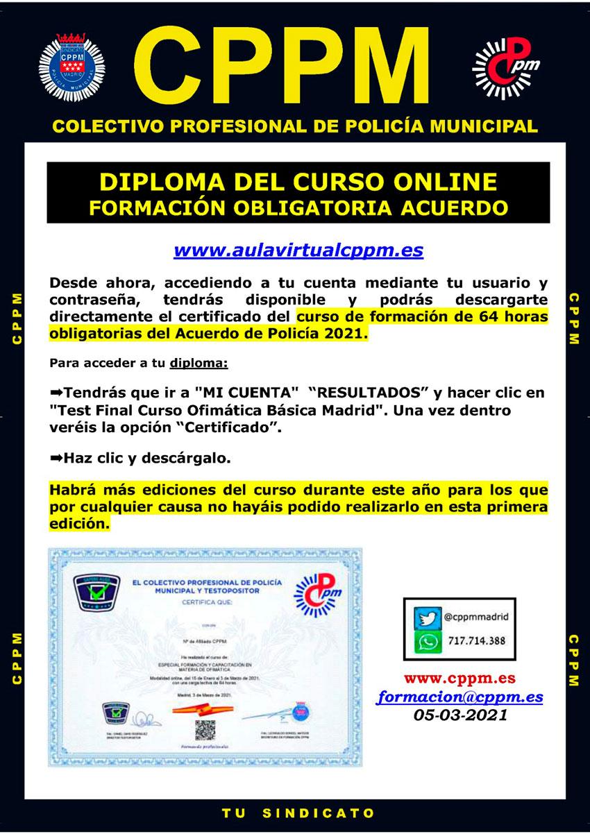 Diploma curso online formación obligatoria Acuerdo Ayto Madrid 2021