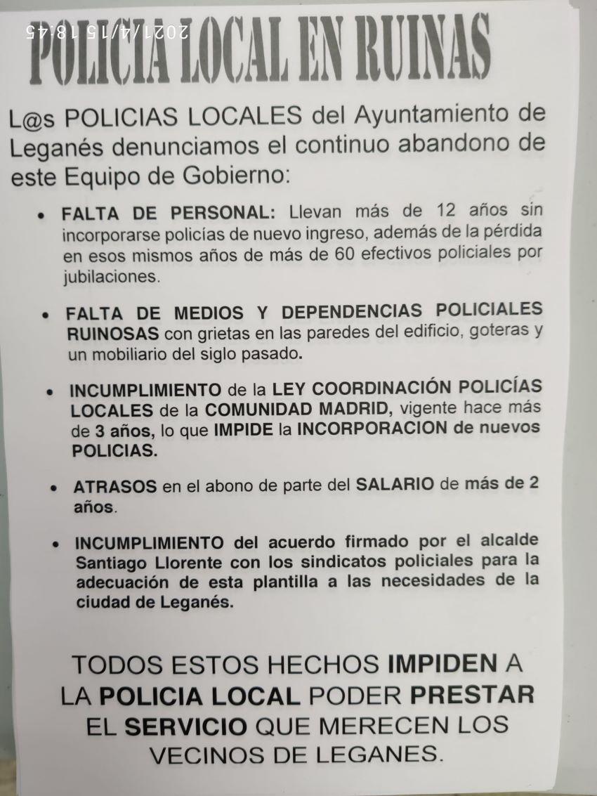 Mesa informativa CPPM Leganes #PolicíalocalenRuinas