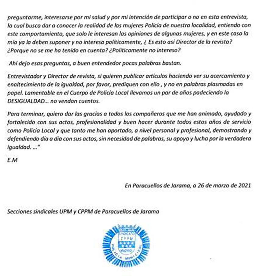 Comunicado conjunto CPPM UPM Paracuellos de Jarama 50 aniversario incorporación mujer a Policía local