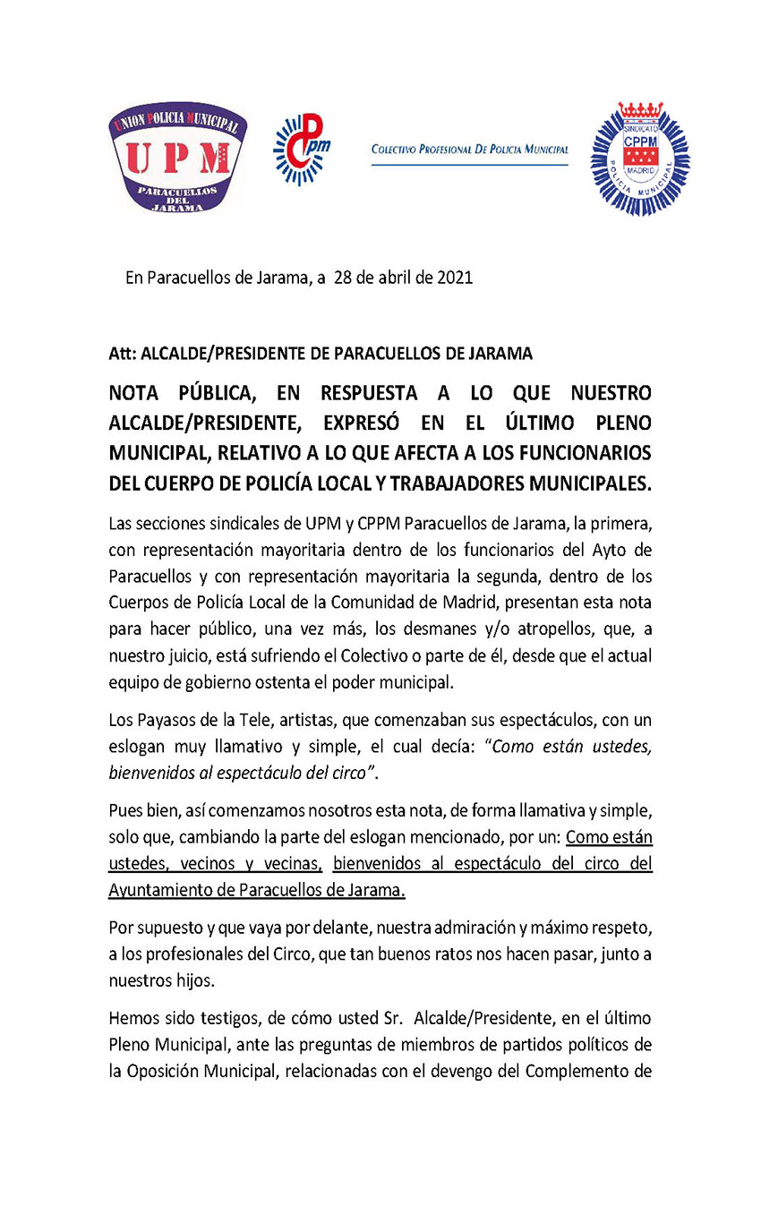 Nota conjunta CPPM y UPM Paracuellos Jarama mal prexis Jefatura policía local