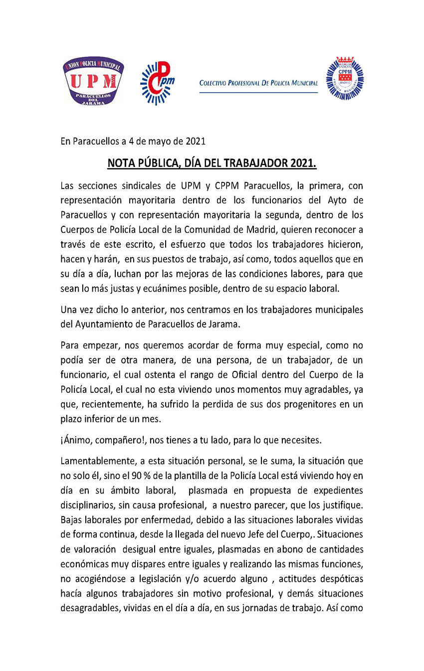 Nota prensa dia trabajador CPPM UPM Paracuellos Jarama