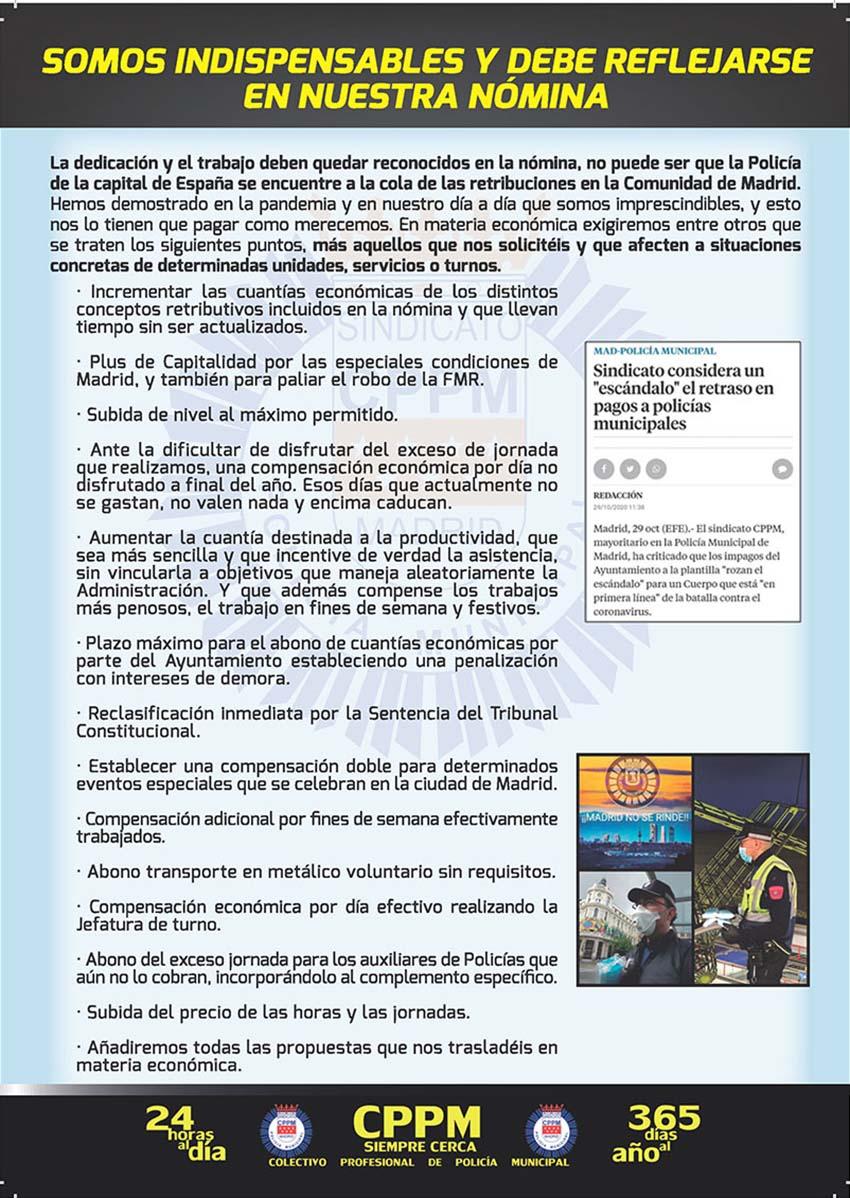 Programa elecciones sindicales 27 mayoi 2021 Policia Municipal Madrid CPPM Madrid