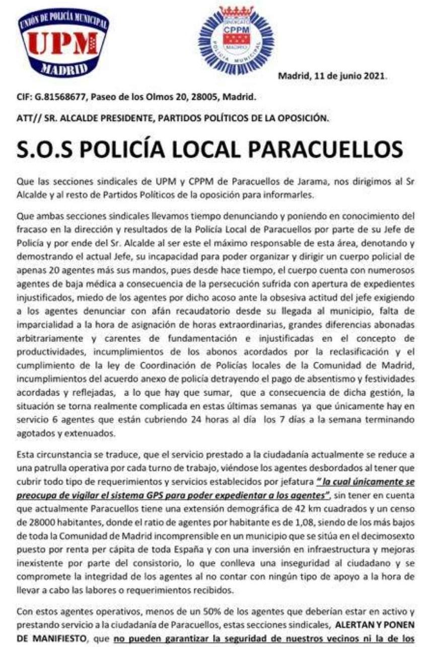 SOS policía local paracuellos de jarama CPPM UPM