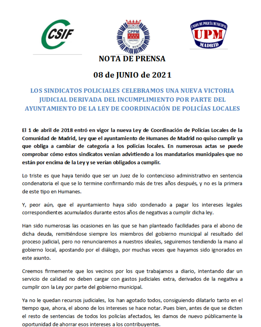 Nota prensa sentencia reclasificación policías locales humanes