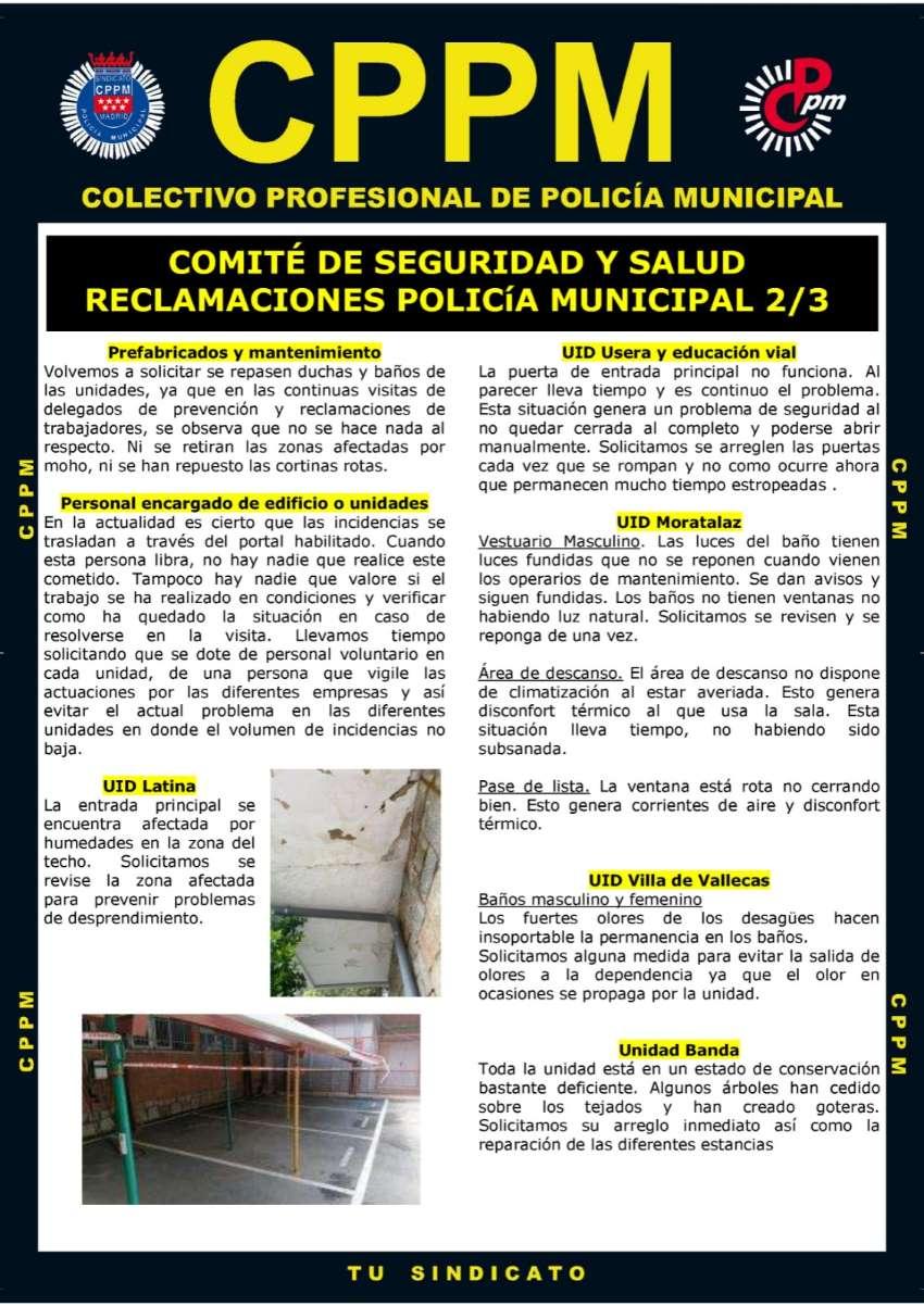 Comite SEguridad y Salud Reclamaciones Policía Municipal Madrid CPPM Madrid