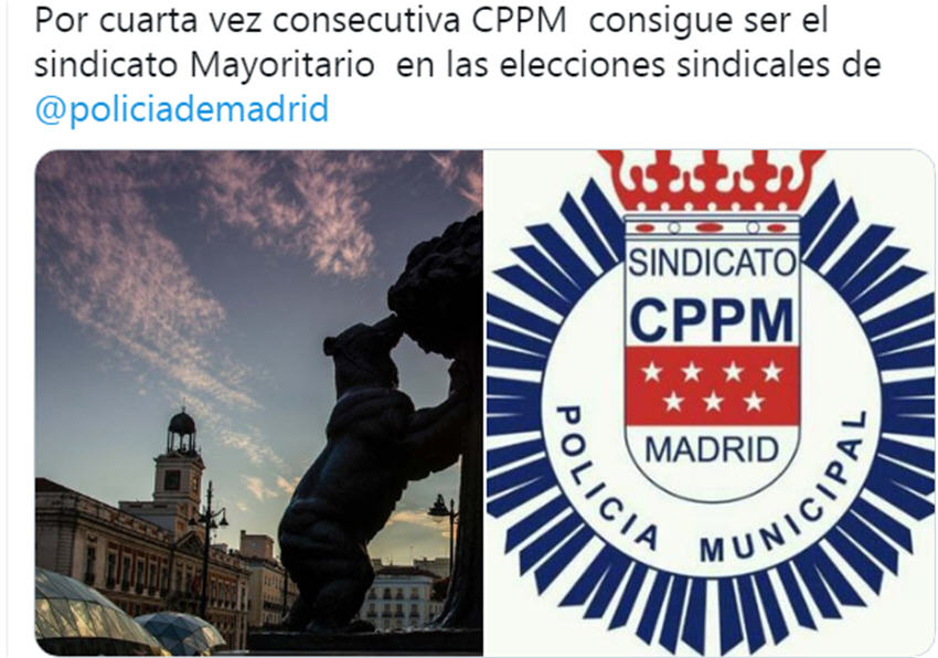 resultados elecciones sindicales 27M Policía Municipal Madrid CPPM Madrid