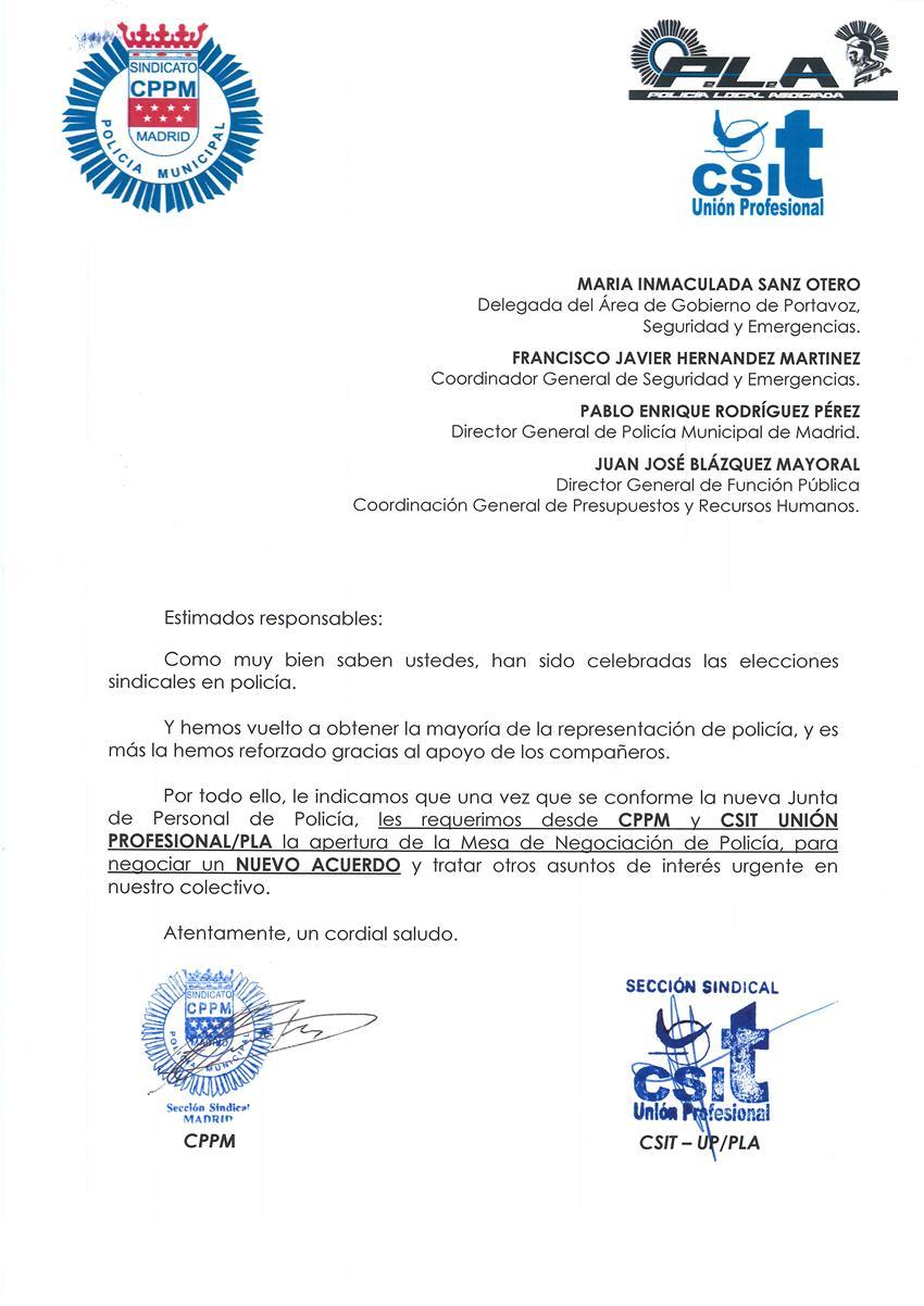 Solicitud apertura mesa negociaciación Acuerdo Policía Municipal Madrid