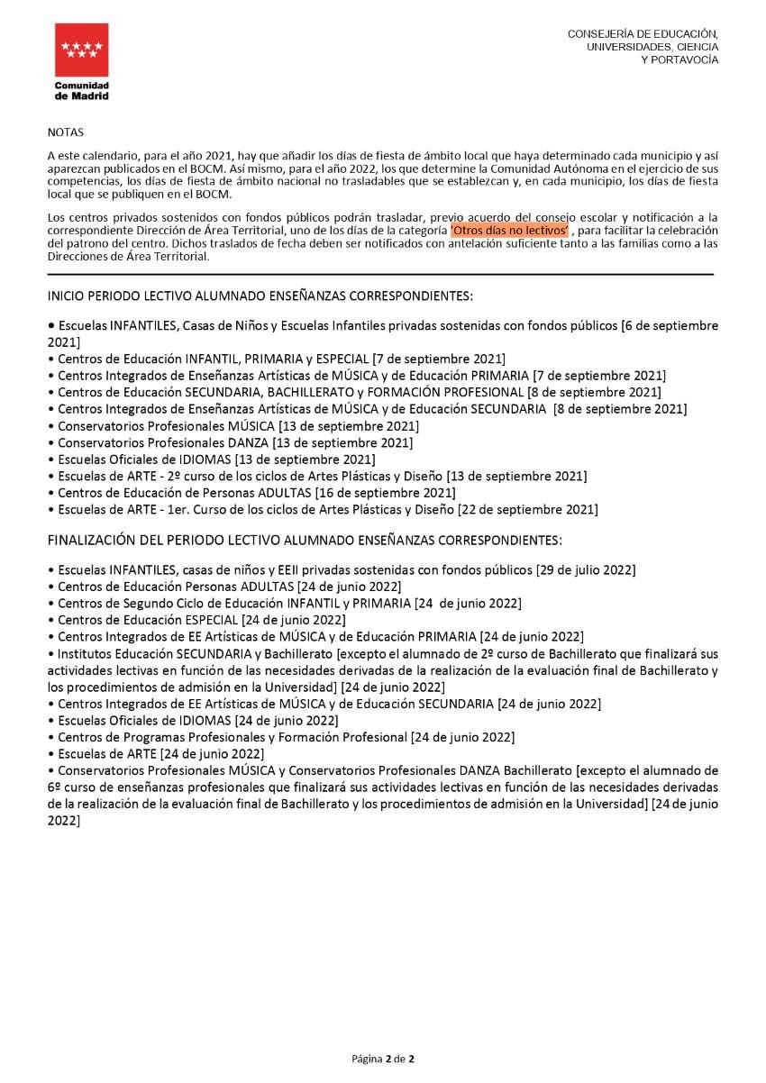 Calendario escolar 2021/2022 Comunidad Madrid