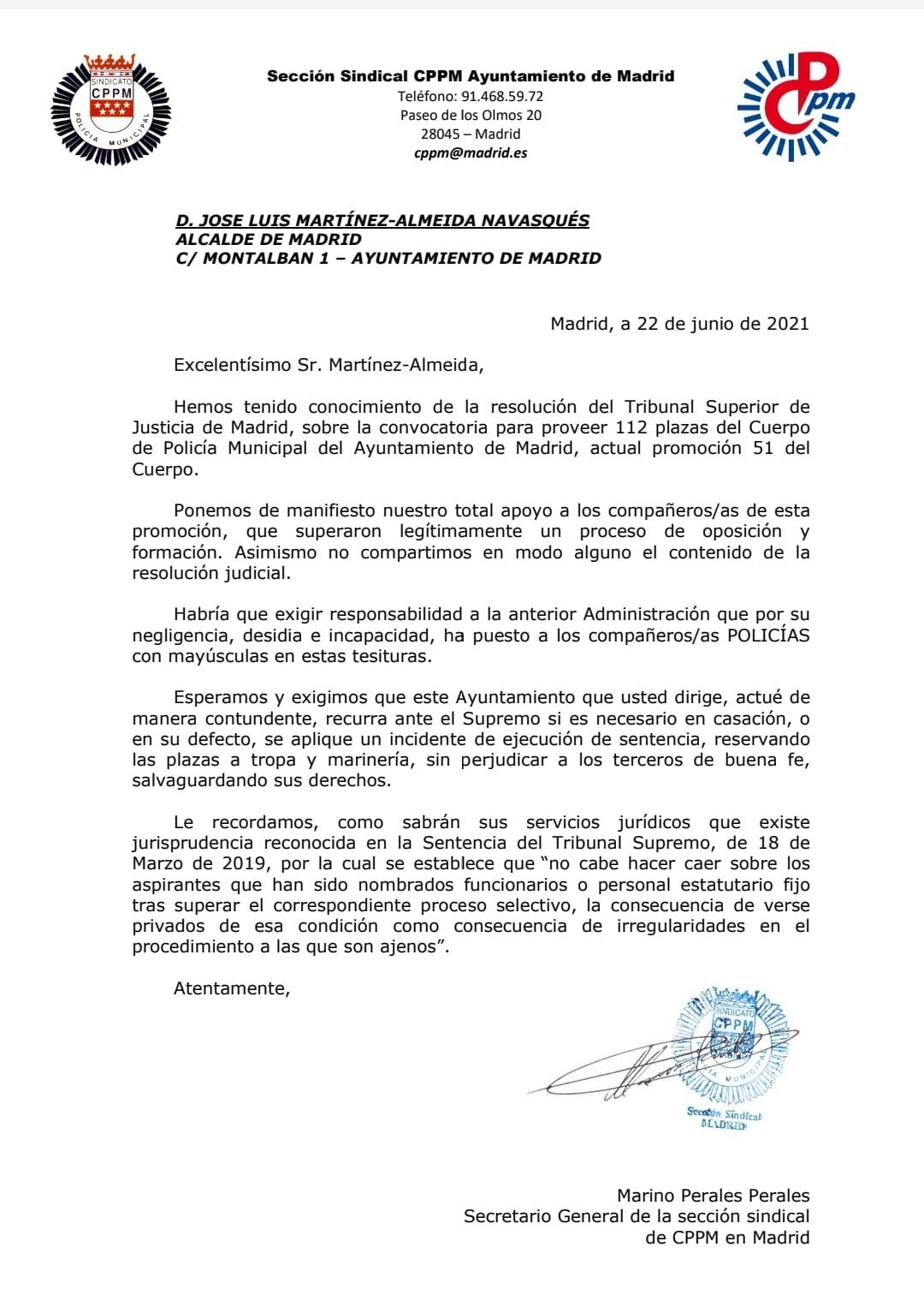 Carta a Alcalde Madrid tras sentencia Promoción 51 CPPM Madrid