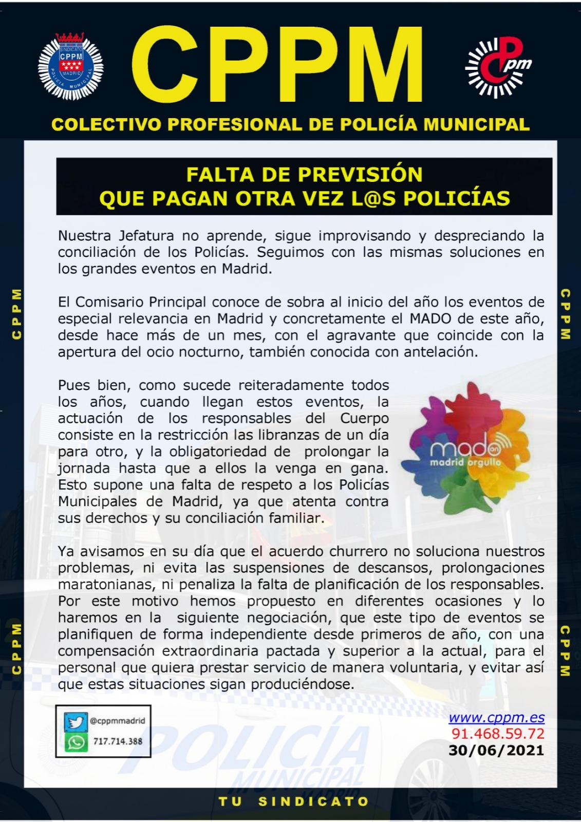 FAlta previsión MADO 2021 Policía Municipal Madrid