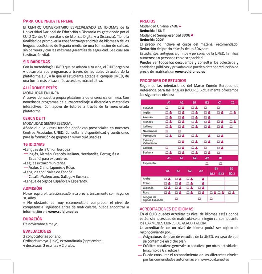 EFAM Idiomas UNED Ayto Madrid Curso 2021/2022