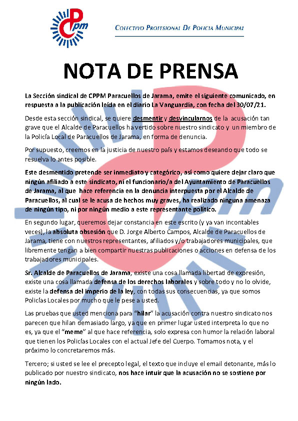 Nota prensa CPPM Paracuellos tras noticia amenazas alcalde