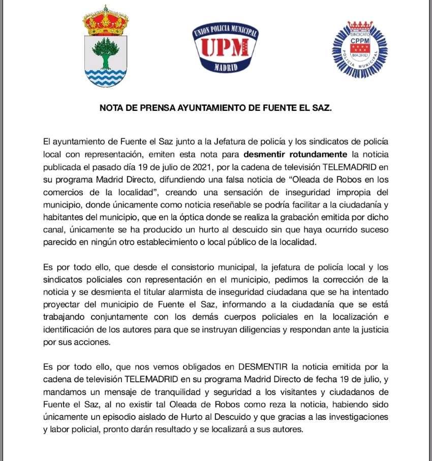 CPPM Fuente el Saz de Jarama nota prensa sobre noticia oleada robos telemadrid